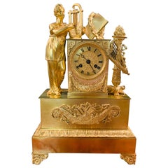 Empire Pendulum Clock First Half of the 19th Century Fire-Gilded, Standing Woman