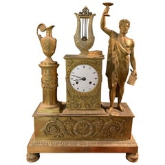 Empire Pendulum Clock First Half of the 19th Century Inscribed `` Rue Vivien ne