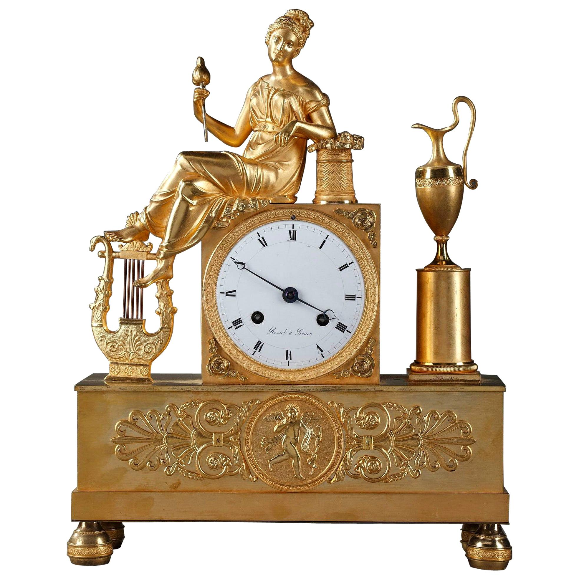 Empire Pendulum Clock the Spinner, Signed Rossel in Rouen