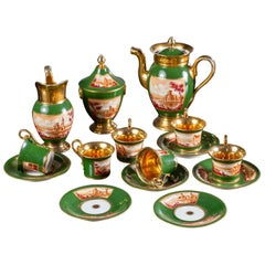Empire Period Antique French Handmade Gold Porcelain Tea Coffee Set, circa 1810