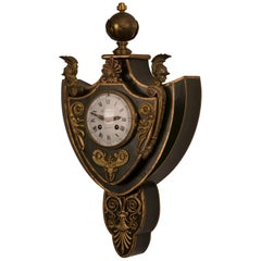 Empire Period Antique French Painted Gilt Bronze Hanging Wall Clock, circa 1810