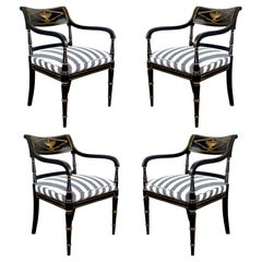Empire Period Black Chairs with Gilding