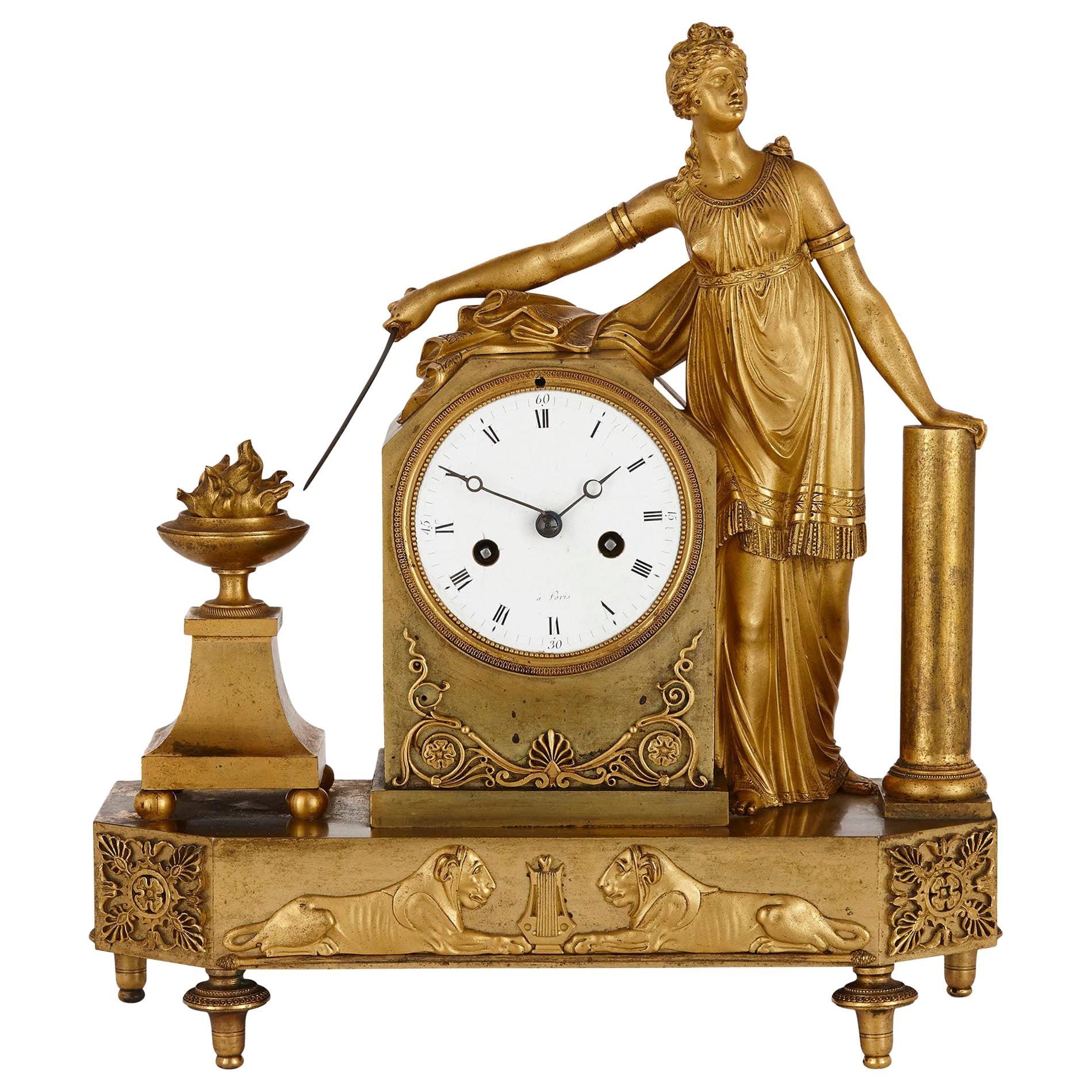 Empire Period Gilt Bronze Figurative Mantel Clock