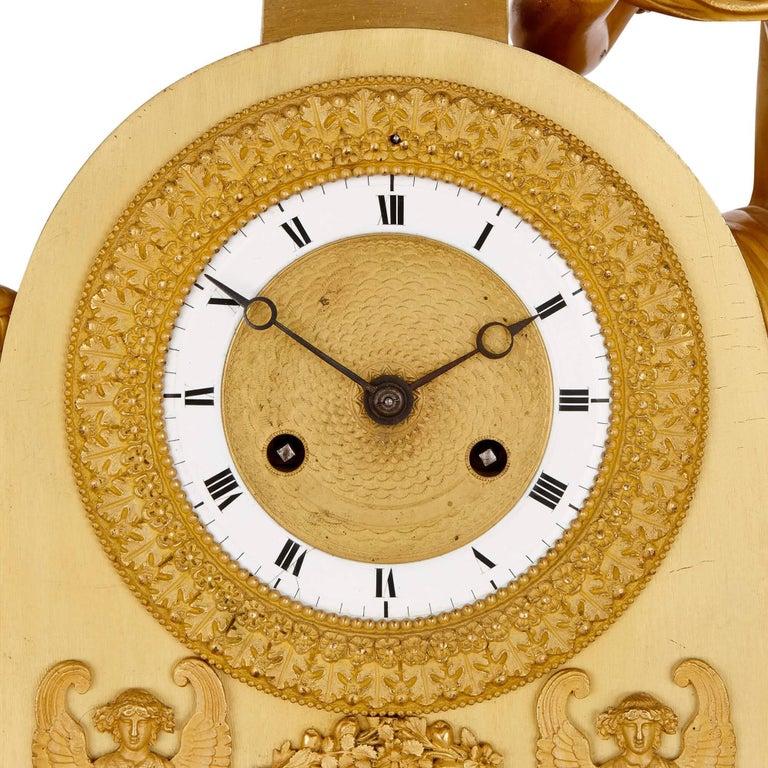 19th Century Empire Period Gilt Bronze Mantel Clock For Sale