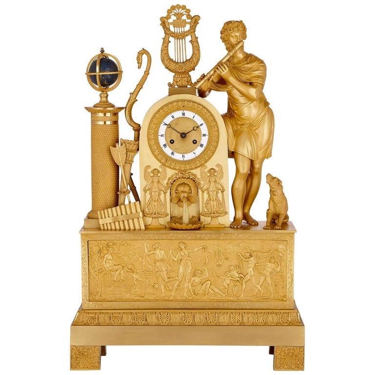 Empire Period Gilt Bronze Mantel Clock For Sale