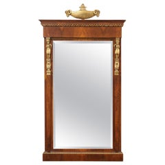 Empire Period Mahogany Mirror with Urn Motif and Gilt Accents France, circa 1810