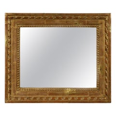 Empire Rectangular Handcrafted Gold Foil Wood Mirror Spain, 1970