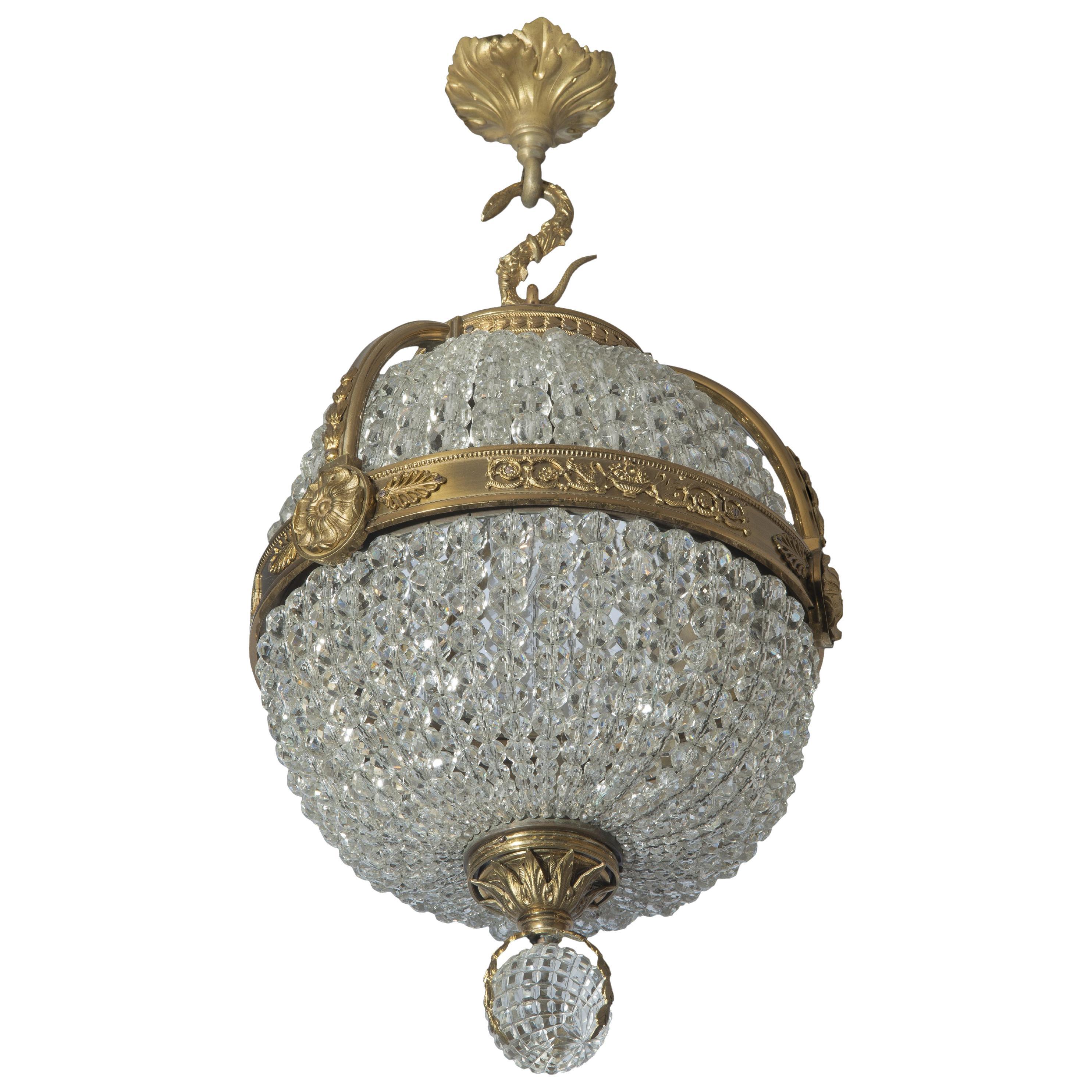 Empire Revival Gilt-Bronze and Cut-Glass Pendant Chandelier, circa 1910