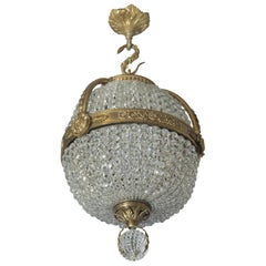 Empire Revival Gilt-Bronze and Cut-Glass Pendant Chandelier, circa 1910