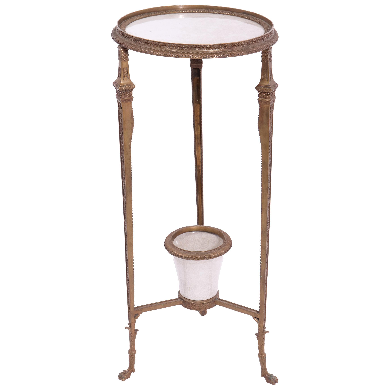 Empire Revival Style Gueridon Bronze Pedestal Table With Planter