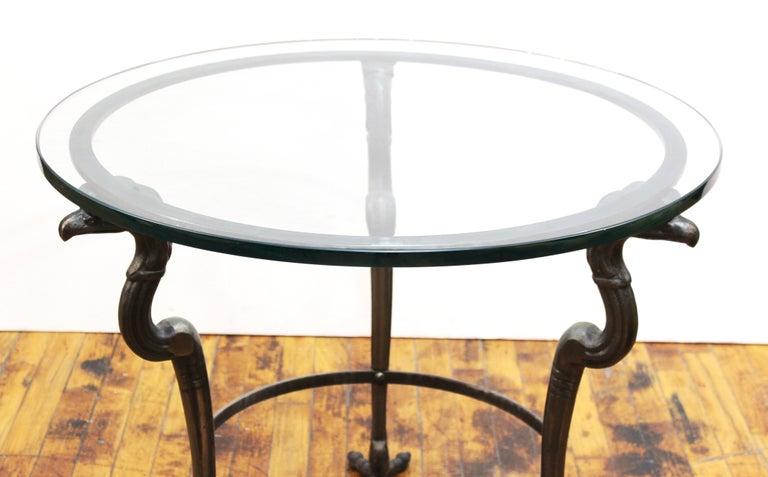 Empire Revival Style Metal & Glass Center Table or Side Table In Good Condition For Sale In New York, NY