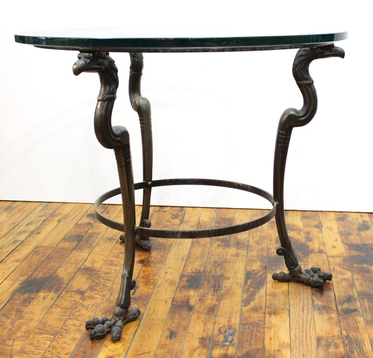 Empire Revival Style Metal & Glass Center Table or Side Table For Sale 3