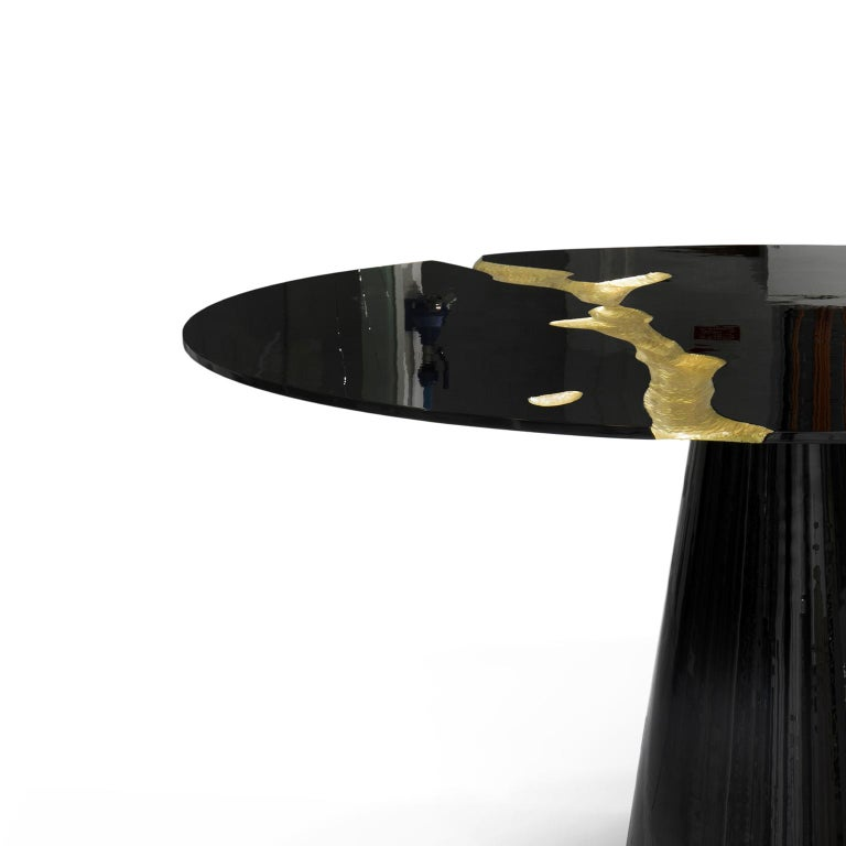 Modern Empire Round Dining Table in Black Lacquer For Sale