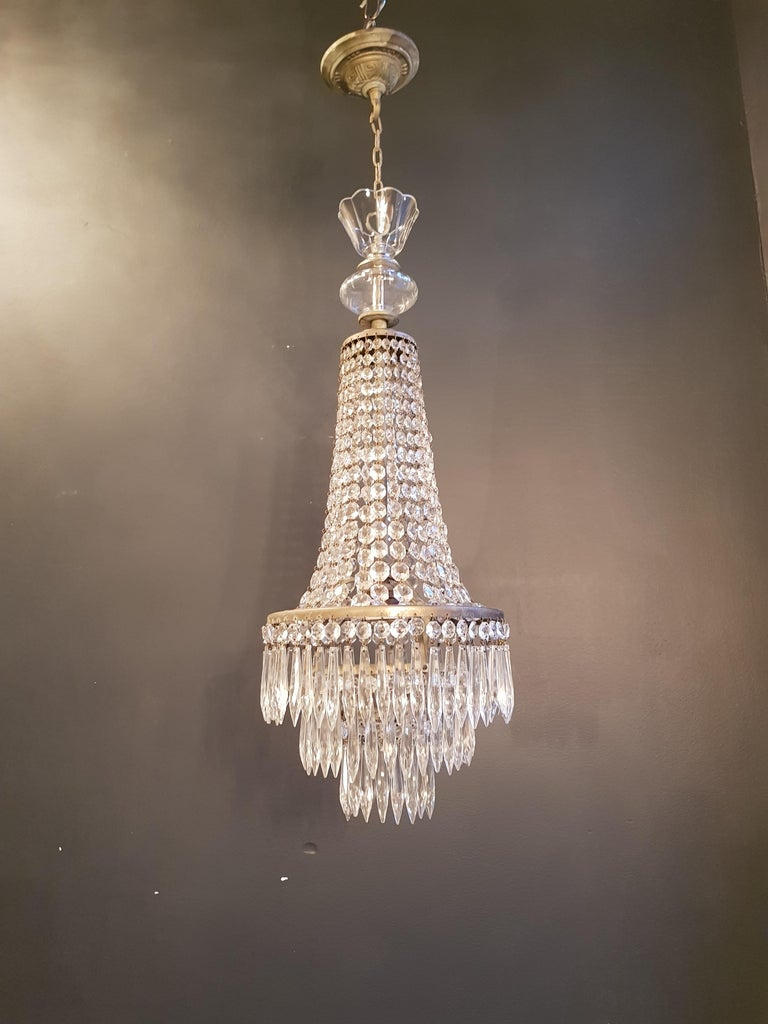 Empire Sac a Pearl Chandelier Crystal Lustre Ceiling Lamp Hall Antique In Good Condition For Sale In Berlin, DE