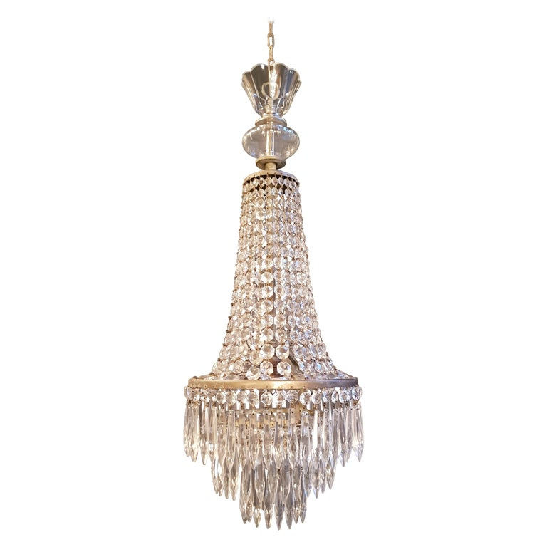 Empire Sac a Pearl Chandelier Crystal Lustre Ceiling Lamp Hall Antique For Sale