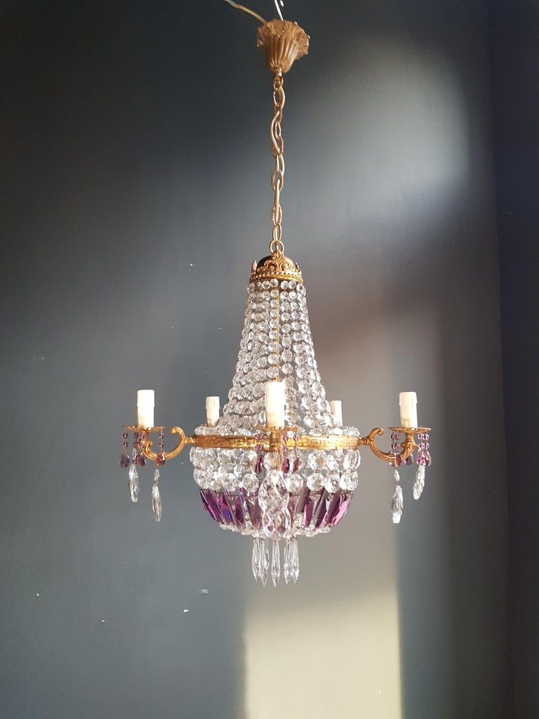 Empire Sac a Pearl Purple Chandelier Crystal Lustre Ceiling Lamp Basket Antique For Sale 3