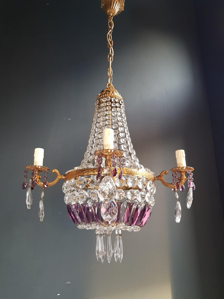 Hand-Knotted Empire Sac a Pearl Purple Chandelier Crystal Lustre Ceiling Lamp Basket Antique For Sale