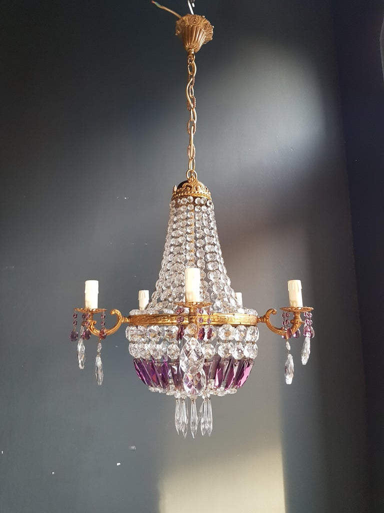 Empire Sac a Pearl Purple Chandelier Crystal Lustre Ceiling Lamp Basket Antique In Good Condition For Sale In Berlin, DE