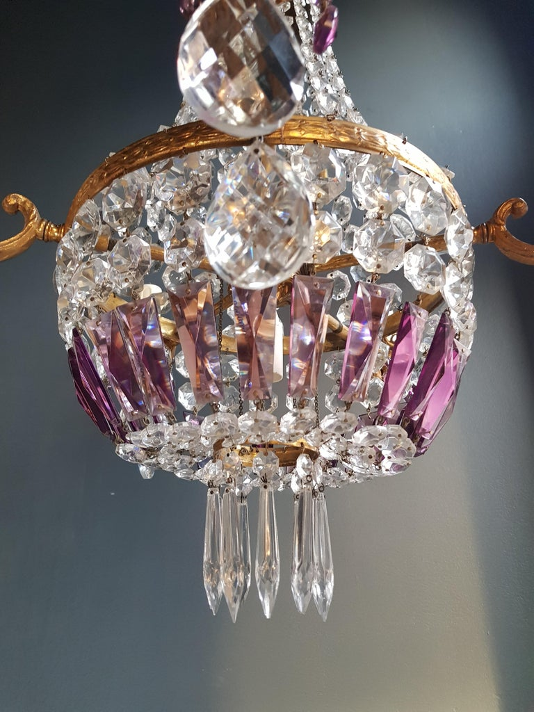 Brass Empire Sac a Pearl Purple Chandelier Crystal Lustre Ceiling Lamp Basket Antique For Sale