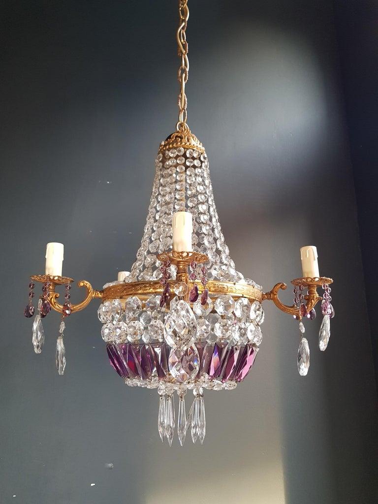 Empire Sac a Pearl Purple Chandelier Crystal Lustre Ceiling Lamp Basket Antique For Sale 1