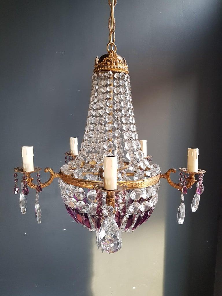Empire Sac a Pearl Purple Chandelier Crystal Lustre Ceiling Lamp Basket Antique For Sale 2