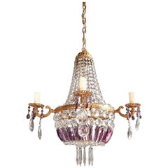 Empire Sac a Pearl Purple Chandelier Crystal Lustre Ceiling Lamp Basket Antique