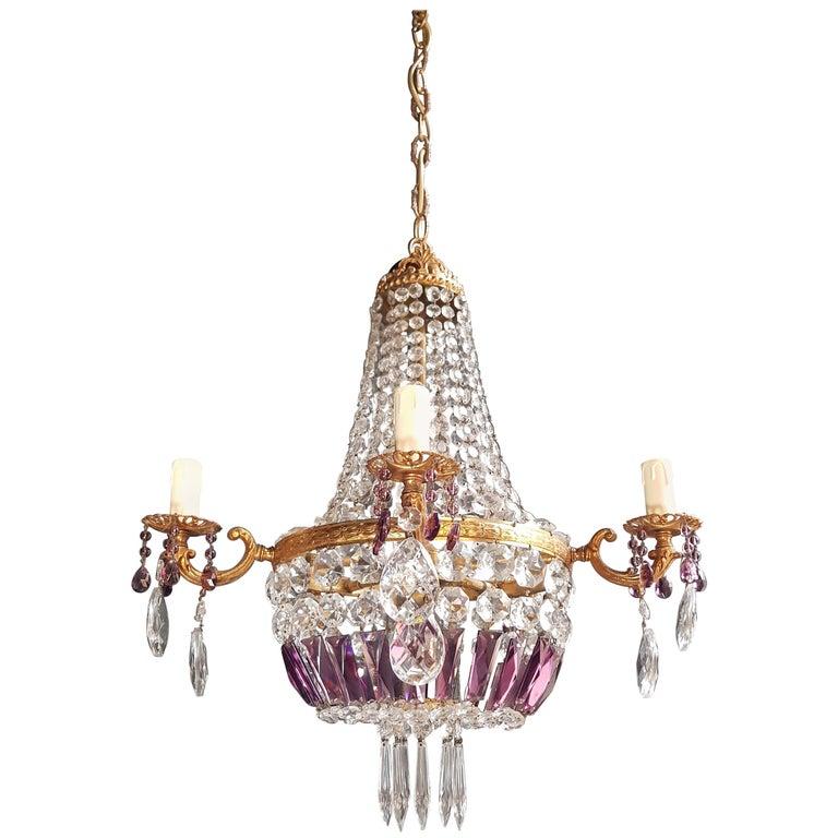 Empire Sac a Pearl Purple Chandelier Crystal Lustre Ceiling Lamp Basket Antique For Sale