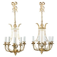 Empire Sconces, French Ormolu Wall Light Candelabras Lyre, 20th Century