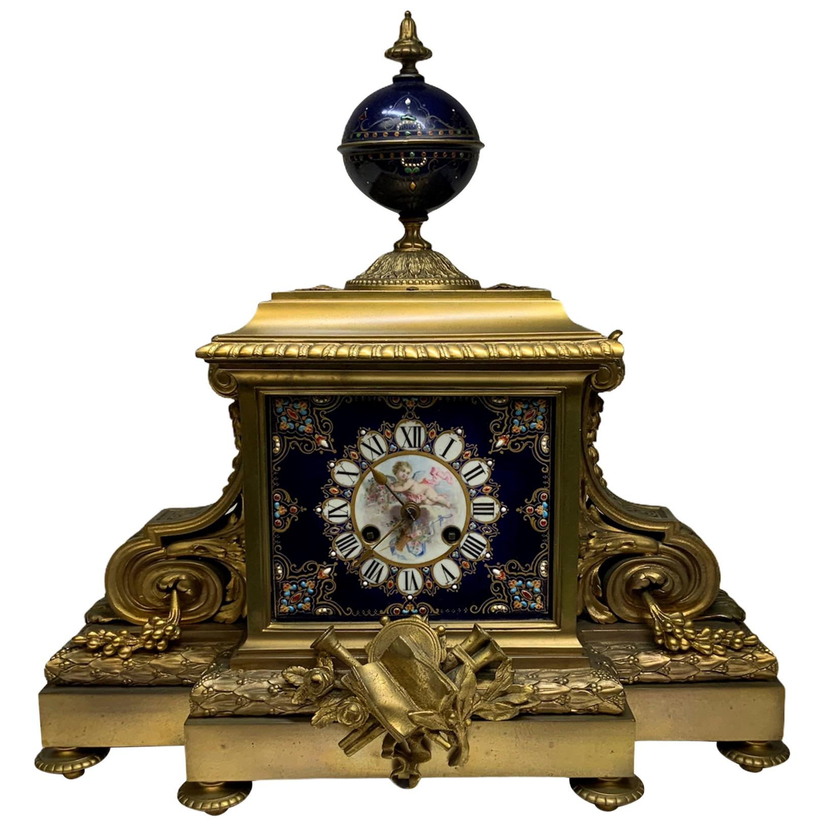 Empire Sevres Style Porcelain Bronze Mounted Mantel Picard Clock