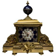 Empire Sevres Style Porcelain Bronze Mounted Mantel Picard Clock