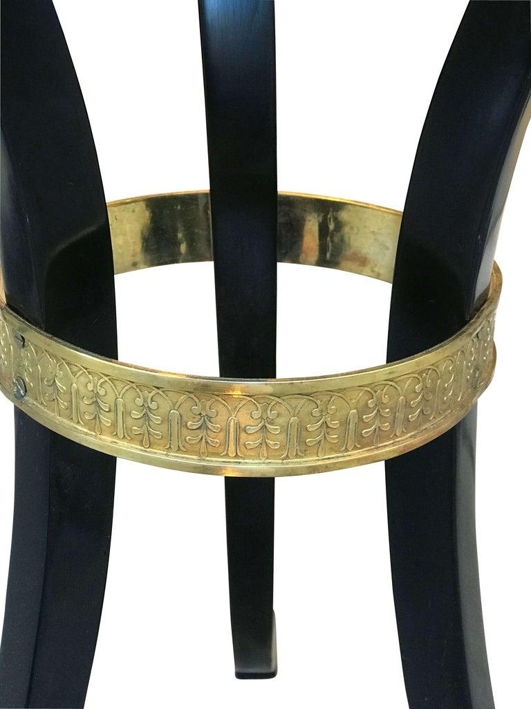 Ebonized Empire Side Table, Black Polish, Brass Ring, Austria, circa 1815 For Sale