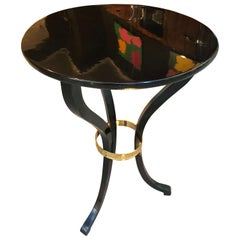 Empire Side Table, Black Polish, Brass Ring, Austria, circa 1815