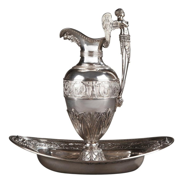 Empire Silver Ewer with its Bowl by Edme Gelez For Sale