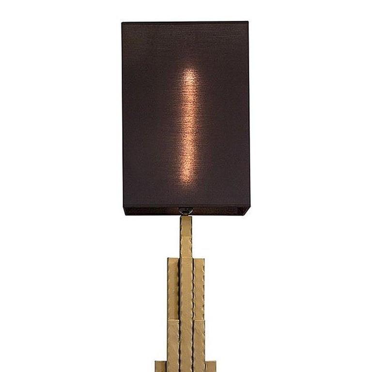 Table Lamp Empire State with structure hand-crafted  in forged iron. With black lamp shade included.