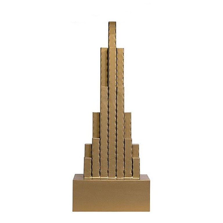 Forged Empire State Table Lamp in matt Gold Finish For Sale