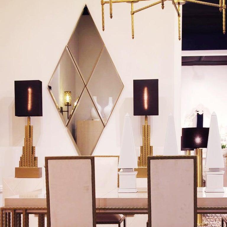 Contemporary Empire State Table Lamp in matt Gold Finish For Sale