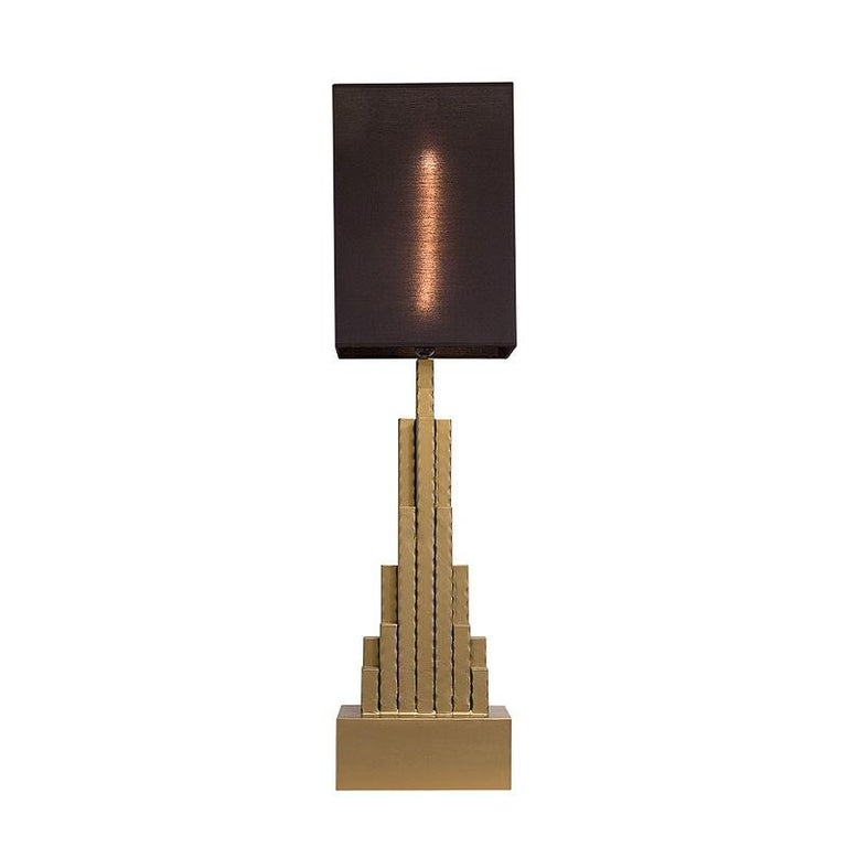 Empire State Table Lamp in matt Gold Finish For Sale