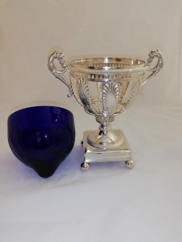 Forged Empire Sterling Silver Sugar Vase For Sale