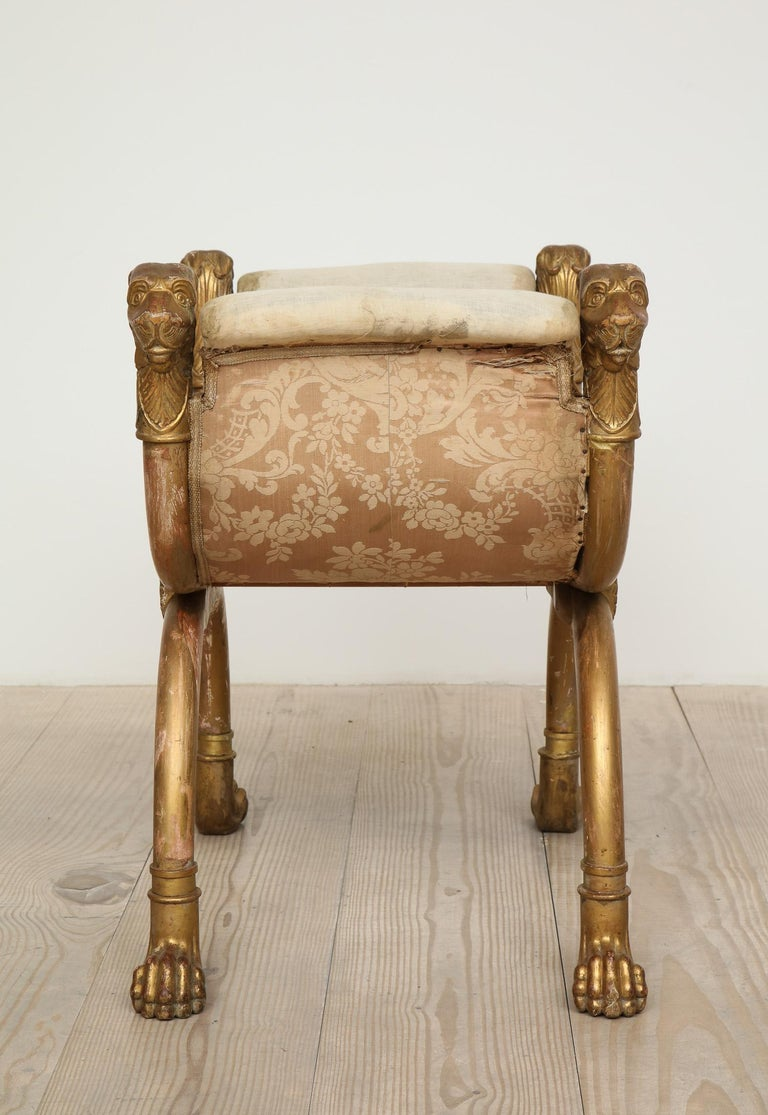 Empire Stool with Giltwood Lion Heads and Paw Feet, Sweden, circa 1810 In Excellent Condition For Sale In New York, NY