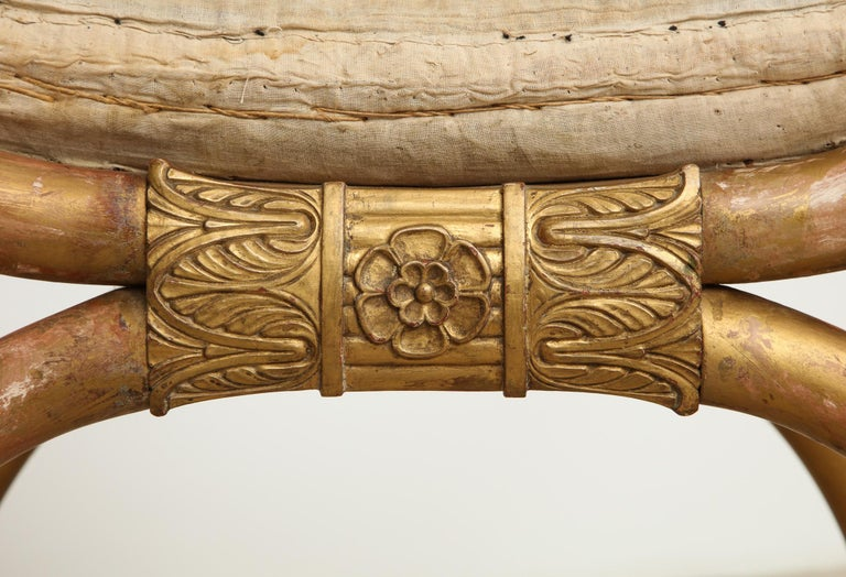 Empire Stool with Giltwood Lion Heads and Paw Feet, Sweden, circa 1810 For Sale 1