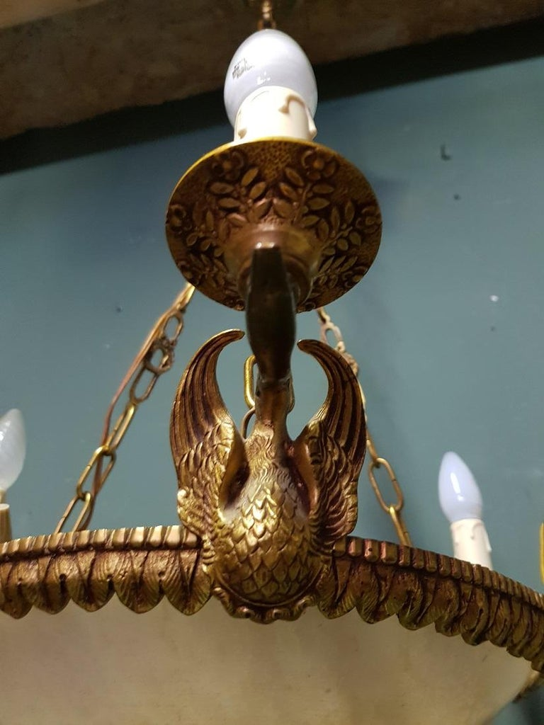 Empire Style 7-Light Bronze Swan Pendant with Alabaster Bowl 1