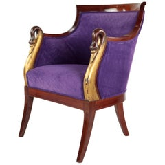 Empire Style Armchair Carved Swan Heads France, End of the 19th Century Mahogany
