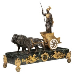 Empire Style Athena in Lion Chariot Clock, 19th Century