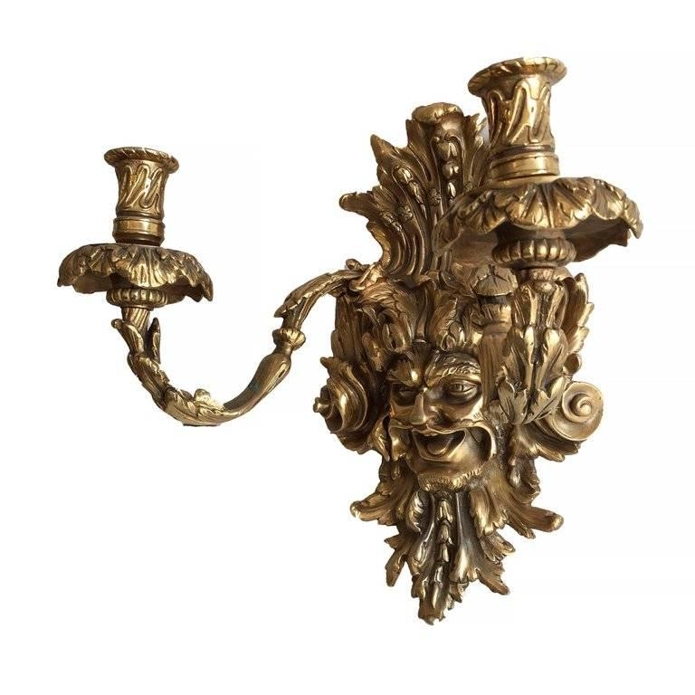 American Empire Style Bacchus Face 24-Karat Gold Dore Bronze Candle Wall Sconce, Pair For Sale