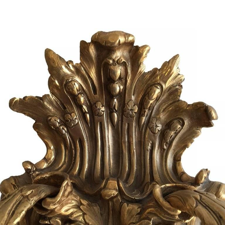 Plated Empire Style Bacchus Face 24-Karat Gold Dore Bronze Candle Wall Sconce, Pair For Sale