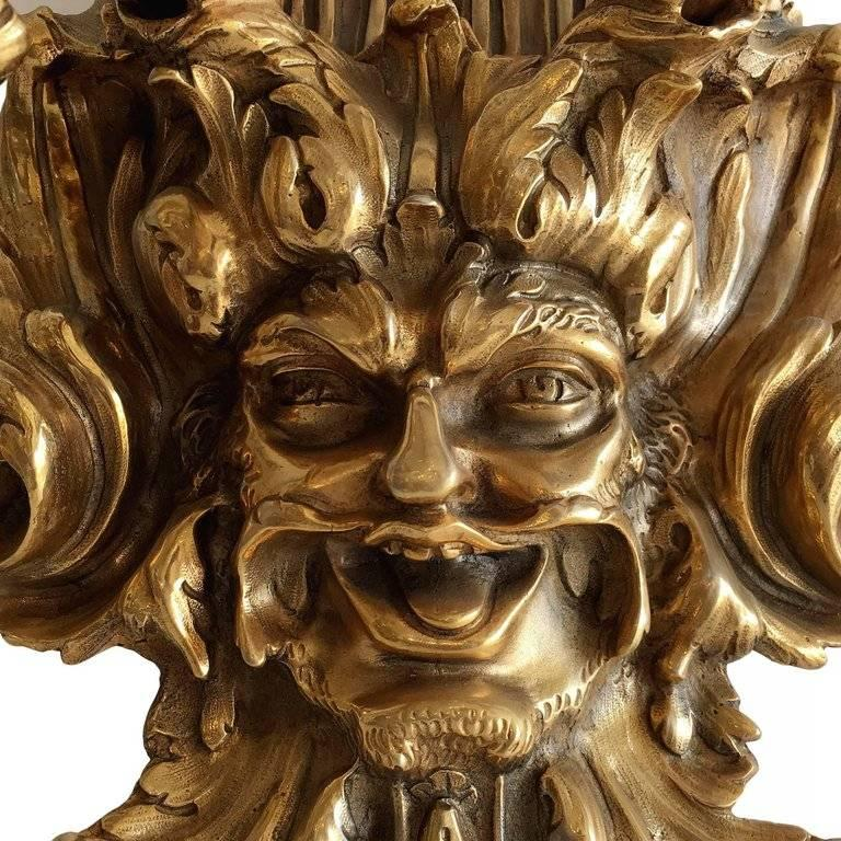Empire Style Bacchus Face 24-Karat Gold Dore Bronze Candle Wall Sconce, Pair In Excellent Condition For Sale In Van Nuys, CA