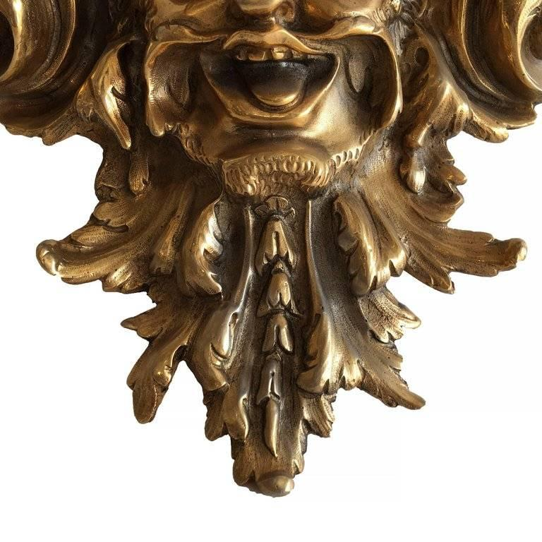 Contemporary Empire Style Bacchus Face 24-Karat Gold Dore Bronze Candle Wall Sconce, Pair For Sale