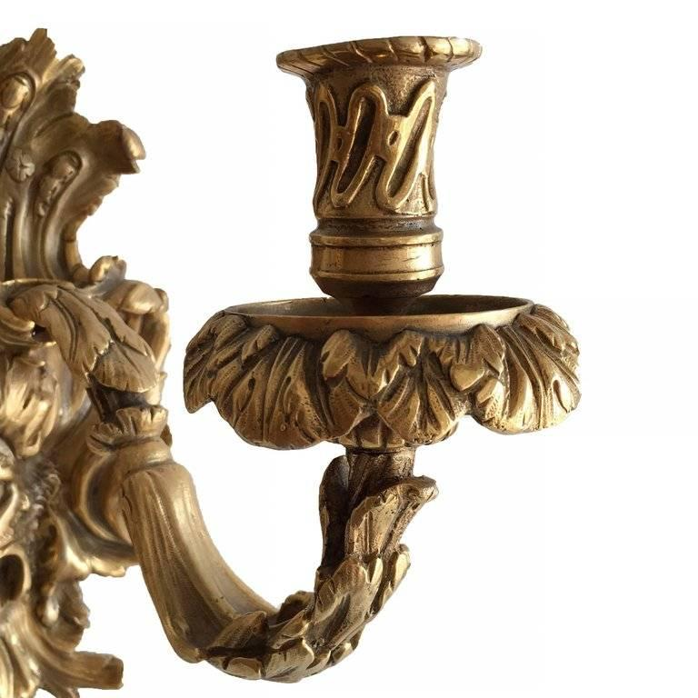Empire Style Bacchus Face 24-Karat Gold Dore Bronze Candle Wall Sconce, Pair For Sale 1