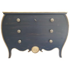 Empire Style Black Commode with Bronze Knobs