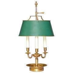 Empire Style Bouillotte Table Lamp Maison Jansen Charles Gilt Brass Steel, 1970s